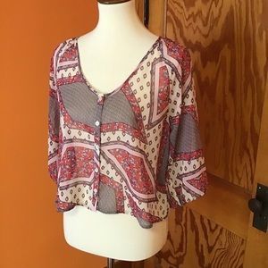 Boho patchwork n lace hippie chic cover up top